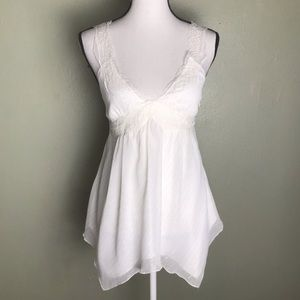 Express NWT Off White Silver Pin Strip Lace Top 6